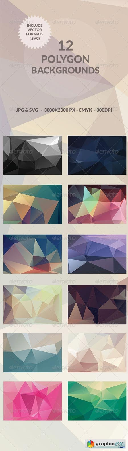 12 Polygon Abstract Backgrounds 7786615