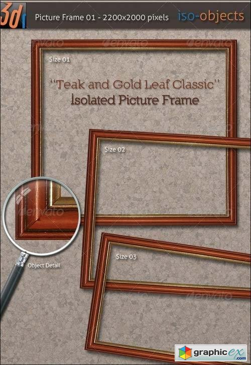HiRes Picture Frame - Teak Wood / Gold Leaf