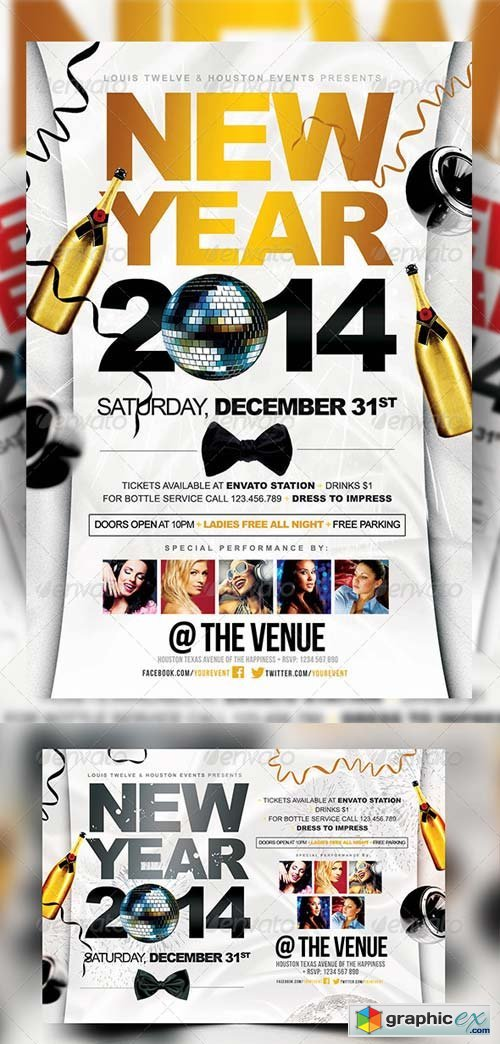 New Year Party | Flyers + FB Cover » Free Download Vector Stock ...