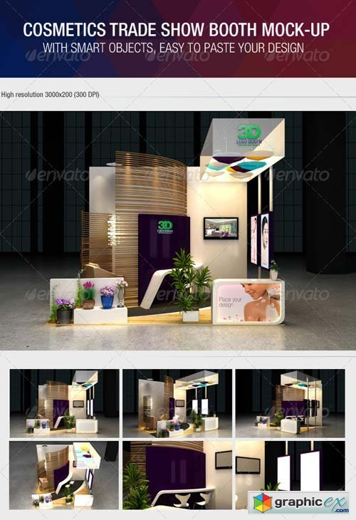 Exhibition Booth Mockup Free Download : Cosmetics exhibition booth mock up free download vector stock