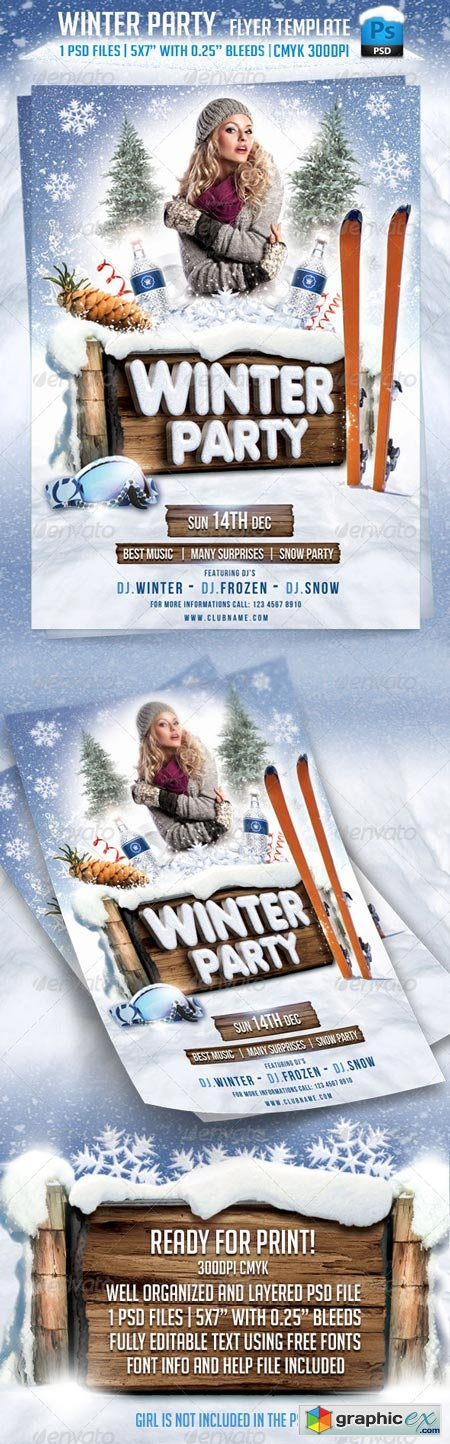 Winter Party Flyer Template 5923180