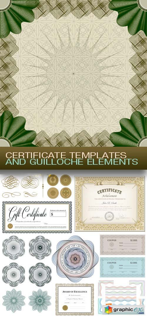 Certificate Templates and Guilloche Elements 15xEPS