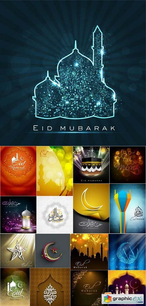 Eid Mubarak Template design in vector set by stock 2 25xEPS