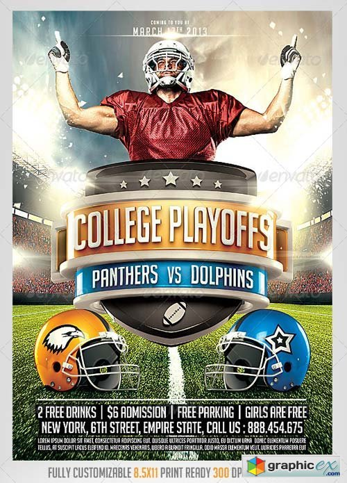 Football Big Game Flyer Template 187 Free Download Vector