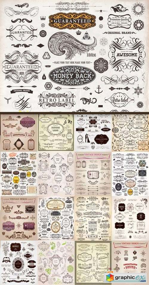 Floral Ornaments & Vintage Labels 5, 25xEPS