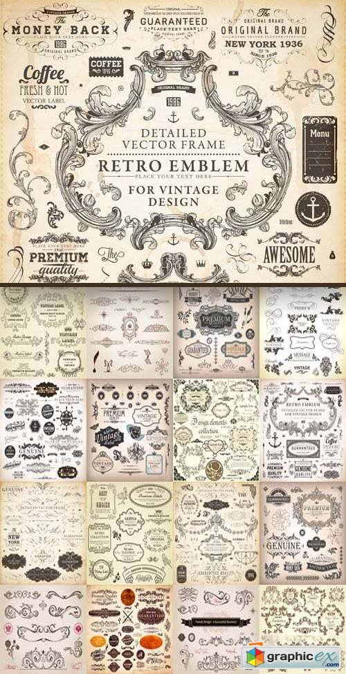 Floral Ornaments & Vintage Labels 6, 25xEPS