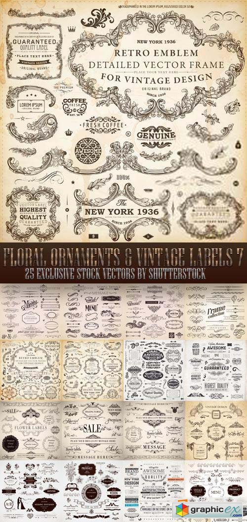 Floral Ornaments & Vintage Labels 7, 25xEPS
