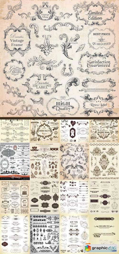 Floral Ornaments & Vintage Labels 8, 20xEPS