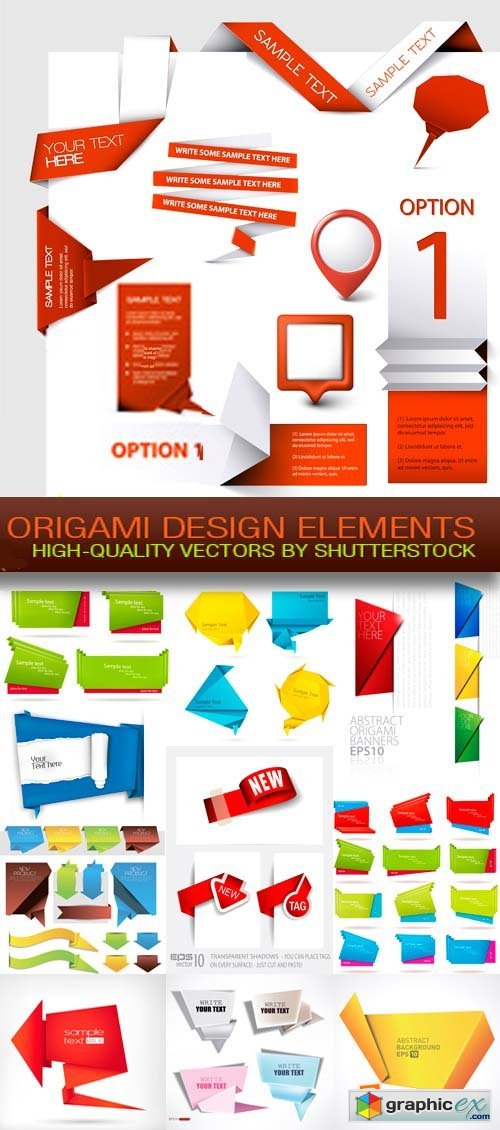 Origami Design Elements 25xEPS