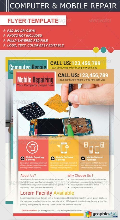 Computer & Mobile Repair Flyer Template » Free Download Vector