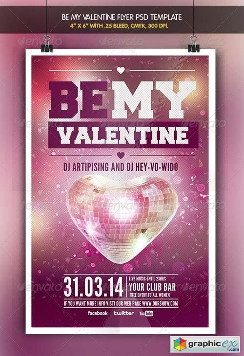 Be my Valentine | Party Flyer Template