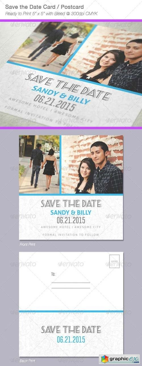 Fresh Save The Date Postcard / Card
