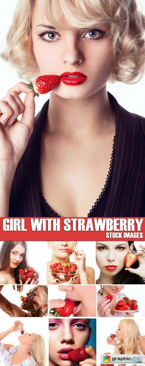 Stock Photos - Girl with strawberry, 25xJPG