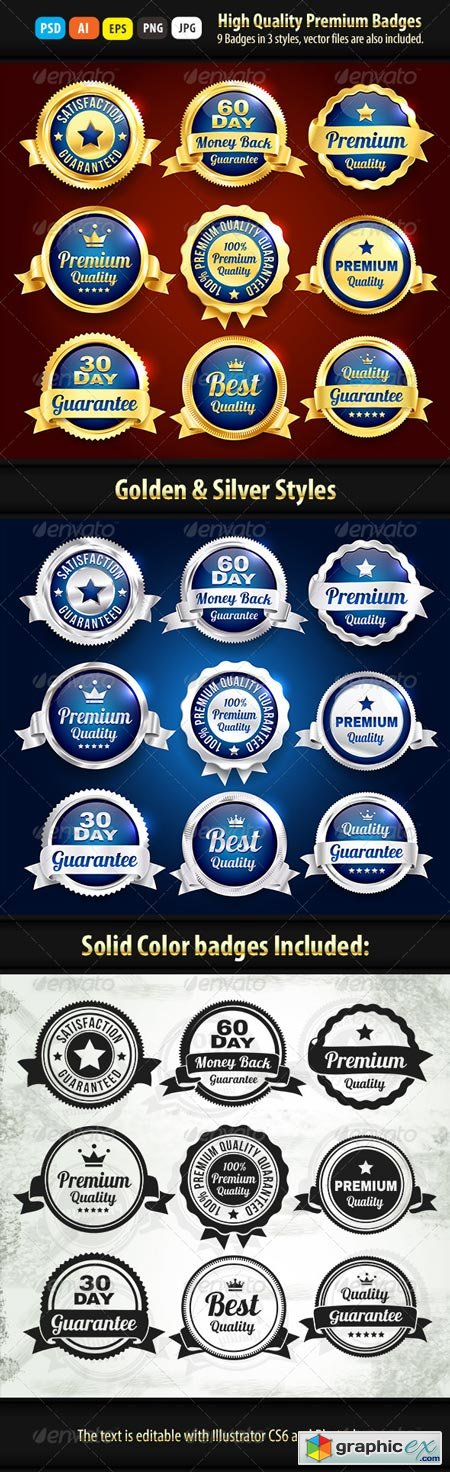 Gold And Silver Premium Quality Badges 6914447