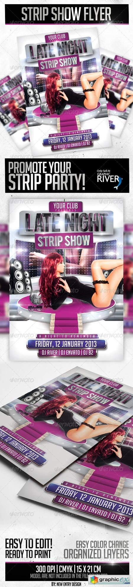Strip Show Flyer Template 3662051