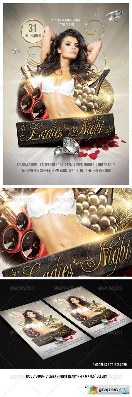 Golden Ladies Party Flyer 6 x 4 3595514