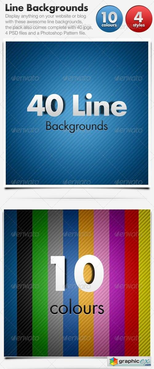 Line Backgrounds x 40 Horizontal & Diagonal