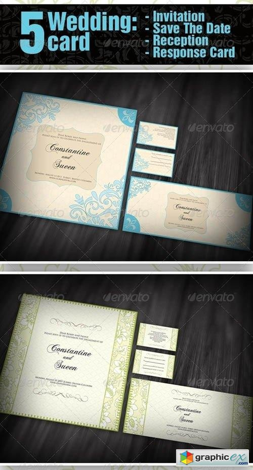 5 items Wedding - Invitation + Save The Date