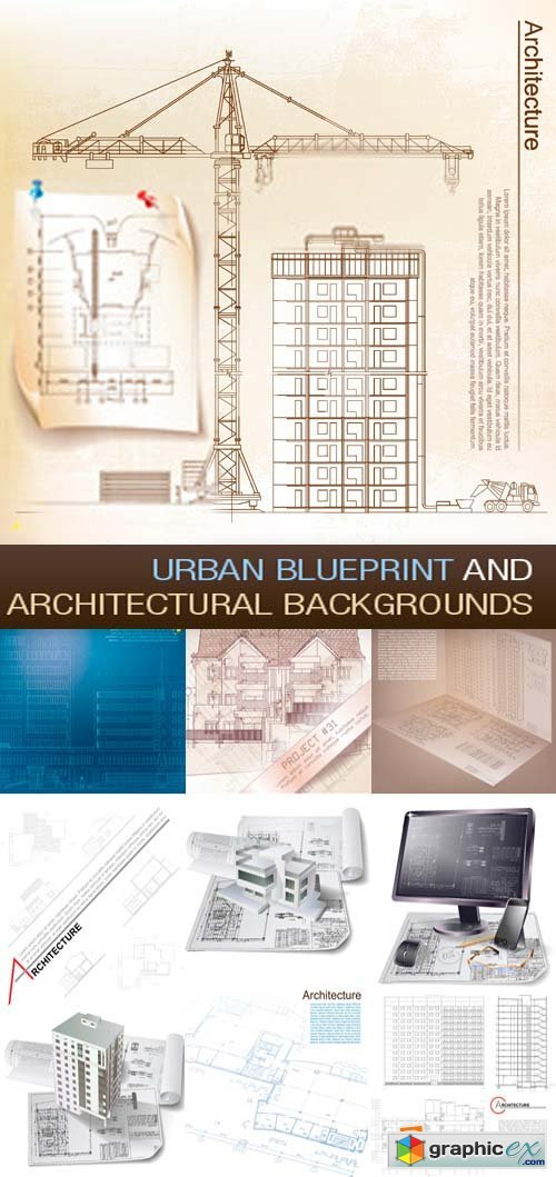 Urban Blueprint and Architectural Backgrounds 25xEPS