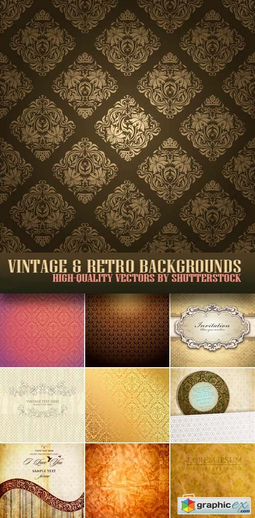 Vintage & Retro Backgrounds 25xEPS