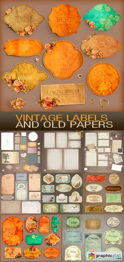 Vintage Labels and Old Papers 15xEPS