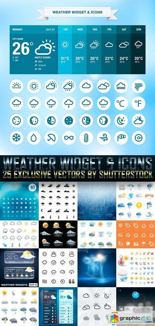 Weather Widget & Icons 25xEPS