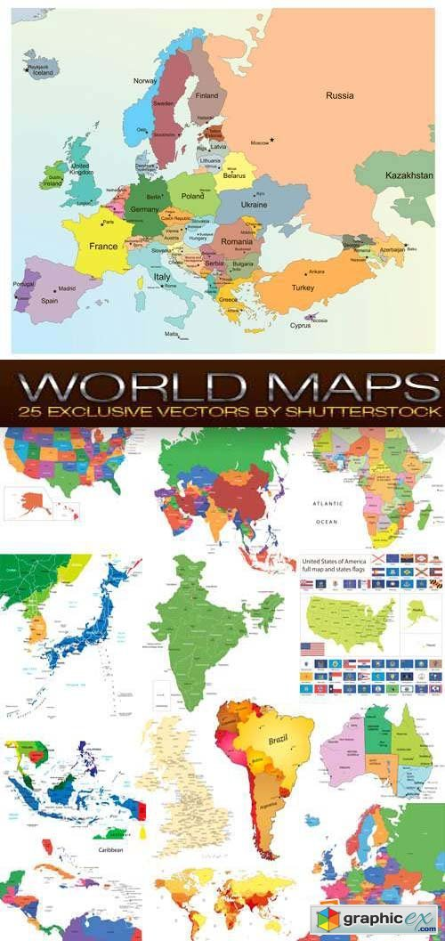 World Maps 25xEPS