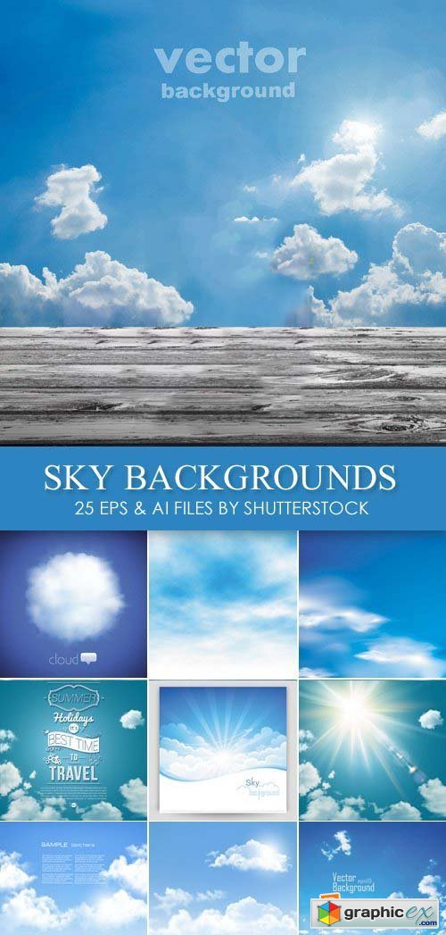 Stock Vector - Blue Sky Backgrounds 26xEPS