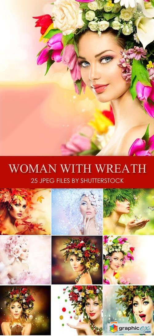 Stock Photo - Woman with Wreath on Her Head 25xJPG