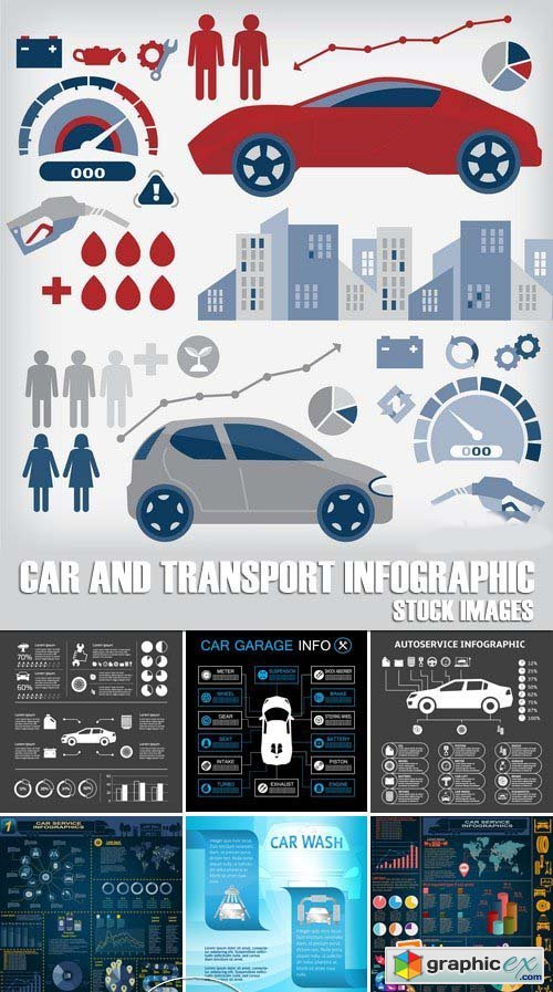 Stock Vectors - Car and Transport Infographic, 25xEPS