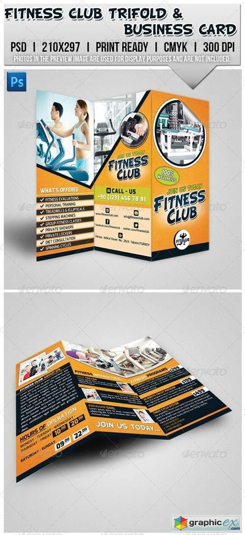 Fitness Club Trifold Brochure & Business Card