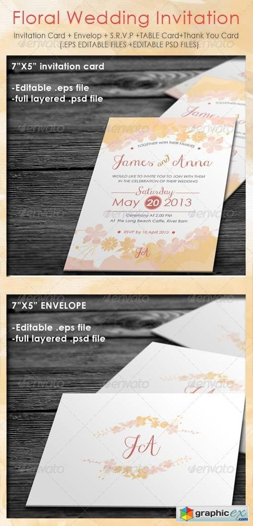 Floral Wedding Invitation Package Free Download Vector