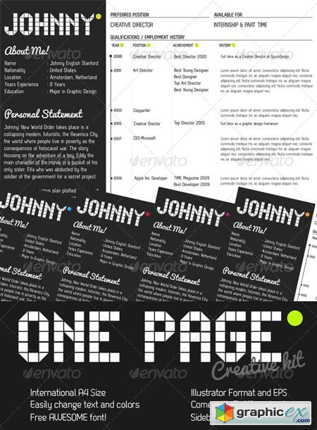 One Page Creative Resume Kit 223365