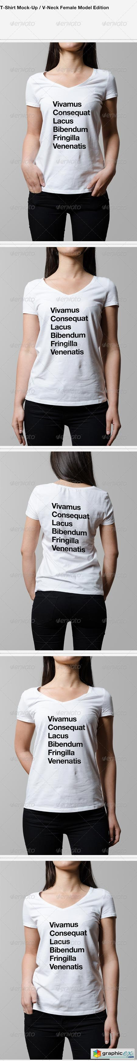 T-Shirt Mock-Up V-Neck Female Model Edition 6371868