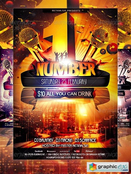 NumberOne Party Flyer Template 1506488