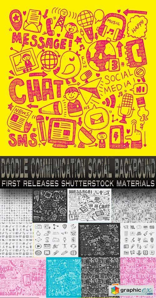 Amazing SS - Doodle Communication Social Backround, 25xEPS