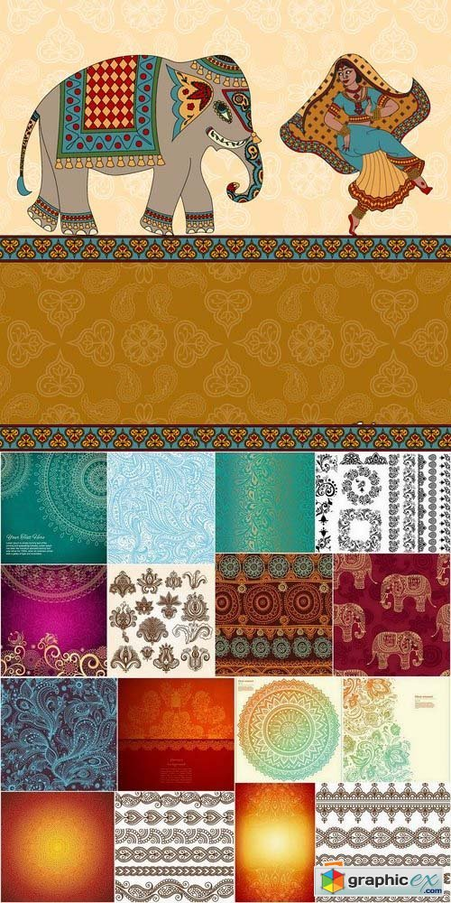 Abstract Backgrounds indian style in vector from stock 25xEPS