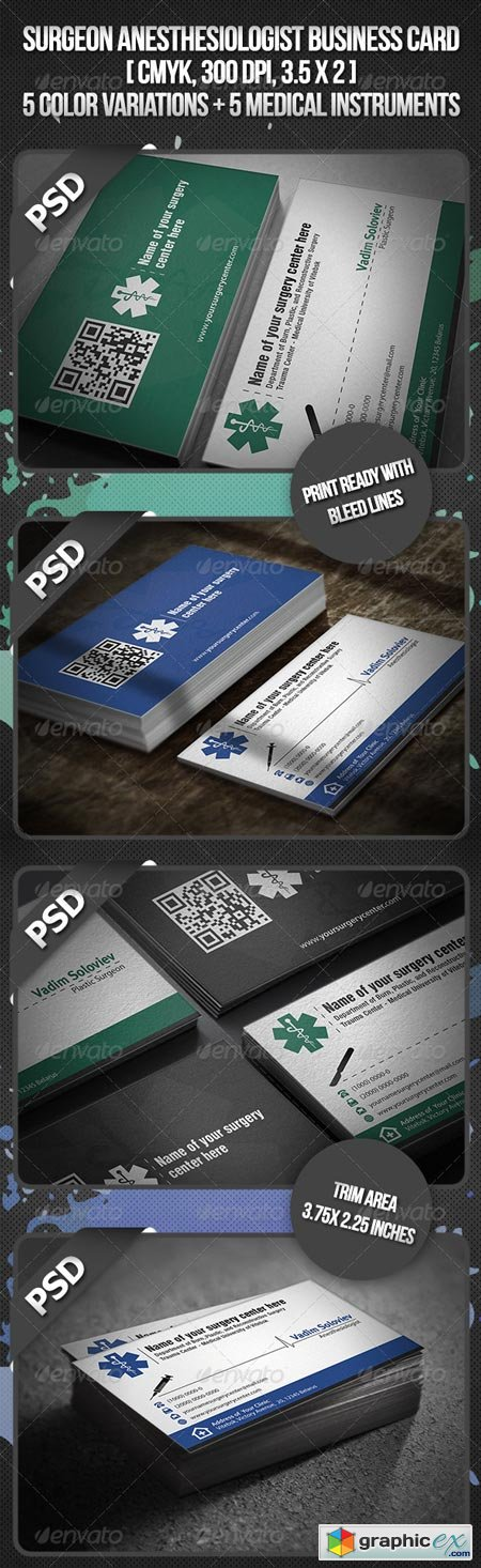 Surgeon Anesthesiologist Business Card 3394942