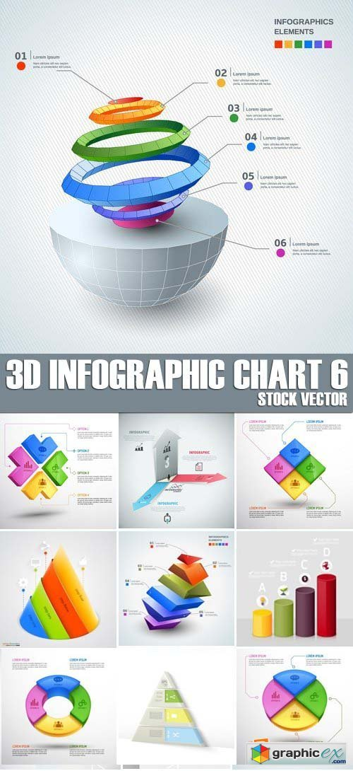 Stock Vectors - 3D Infographic Chart 6, 25xEPS