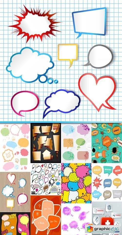 Speech bubbles different types collections, 25xEPS