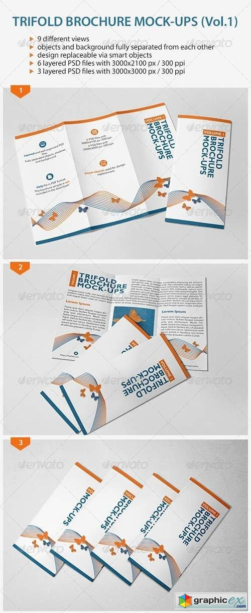 Trifold Brochure Mock-Ups (Vol.1)