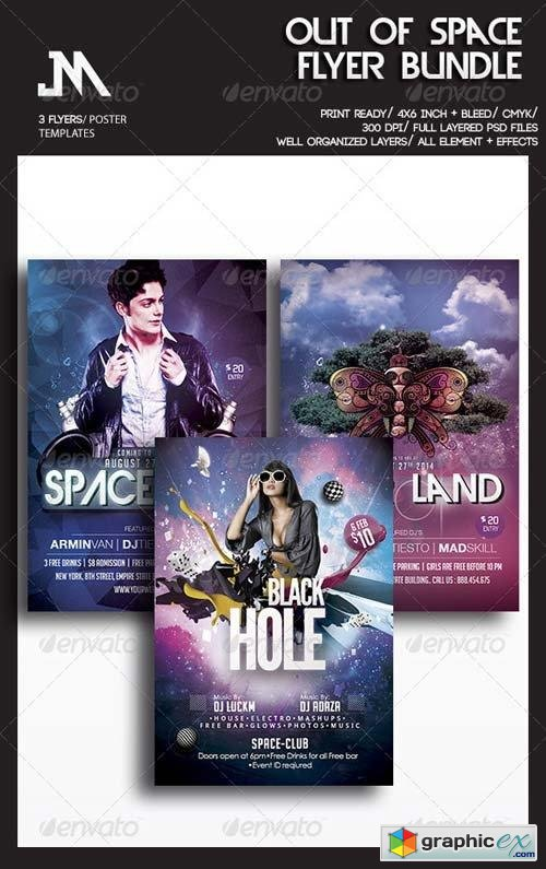 Out Of Space Party Flyer Bundle