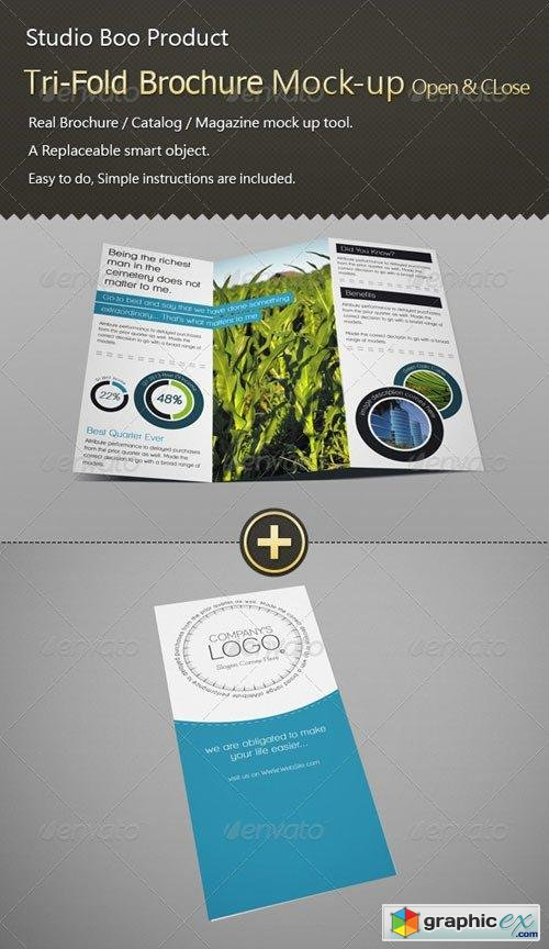 Tri-Fold Brochure / Catalog Mock-up - Open & Close