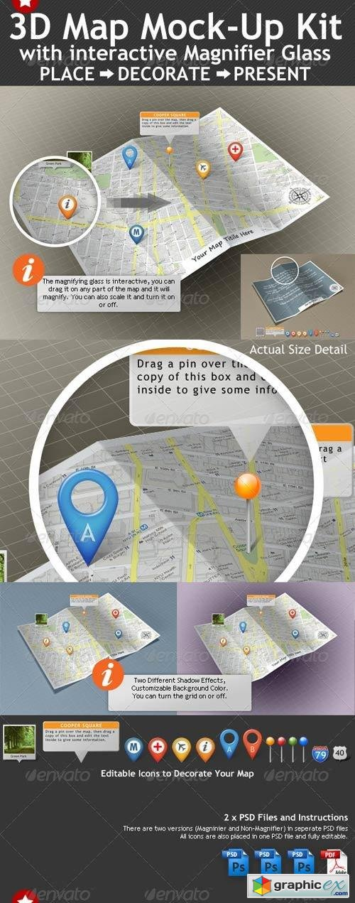 3D Map Mock-Up Kit with Magnifying Glass