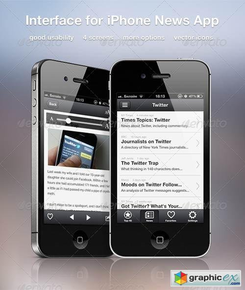 Interface for iPhone News App