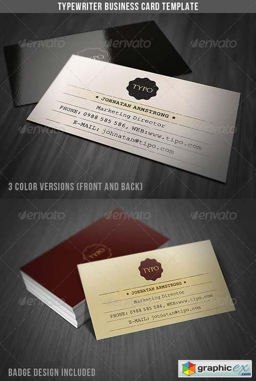 Typewriter Business Card Template