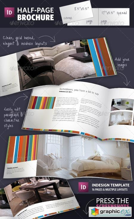 Half Page Brochure InDesign Template 141381