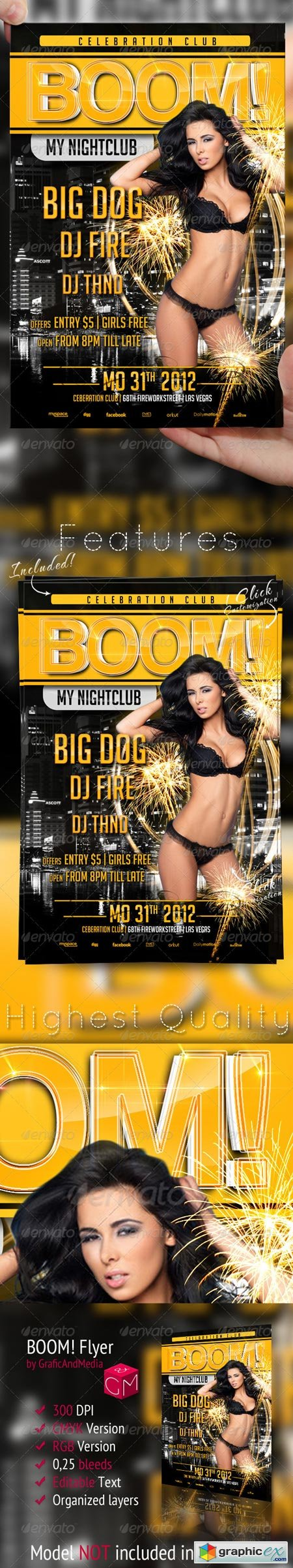 BOOM New Year Flyer Template 3154533