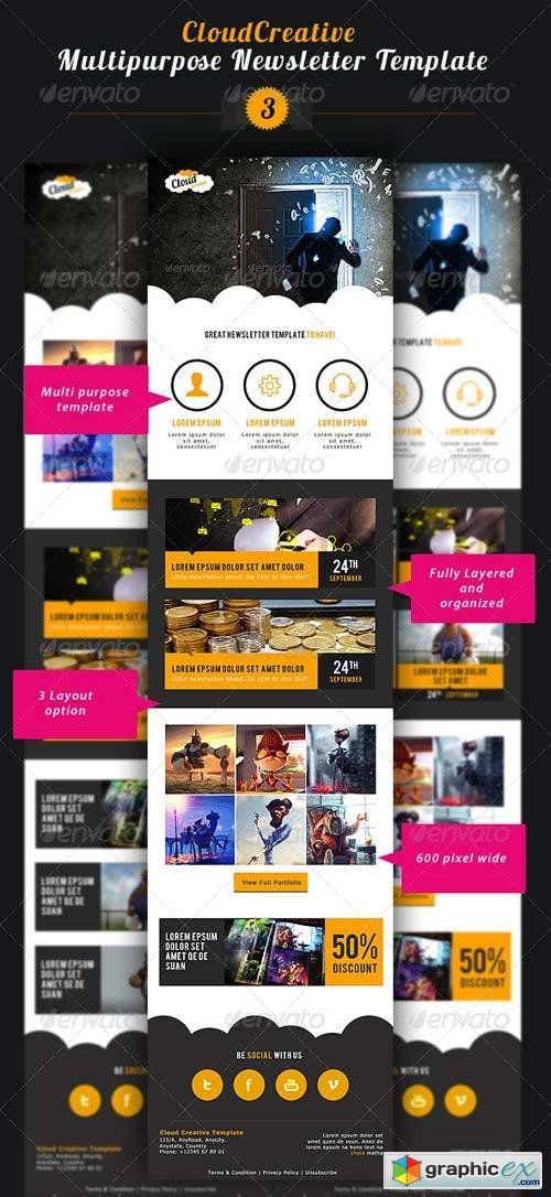 Cloud Creative Multipurpose E-newsletter Template
