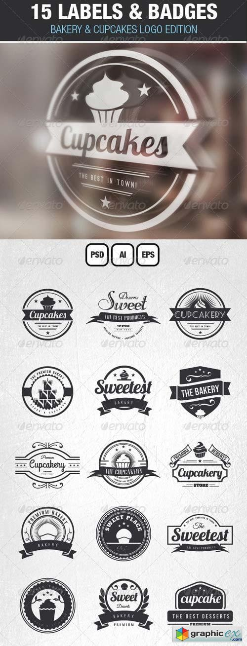 15 Bakery Cupcakes and Cakes Labels & Badges Logos